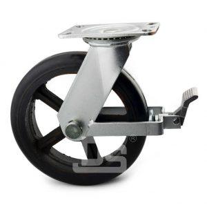 Heavy-Duty-Polyurethane-Cast-Iron-Swivel-Brake-Caster-wheels-with-Side-Lock-2