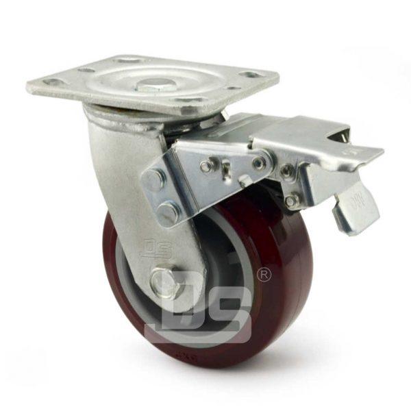 Heavy-Duty-Polyurethane-Swivel-Plastic-Wheels-with-Dual-Lock-Brake-2