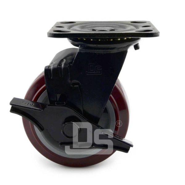 Heavy-Duty-Polyurethane-Swivel-Plastic-Wheels-with-Side-Lock-Brake-2