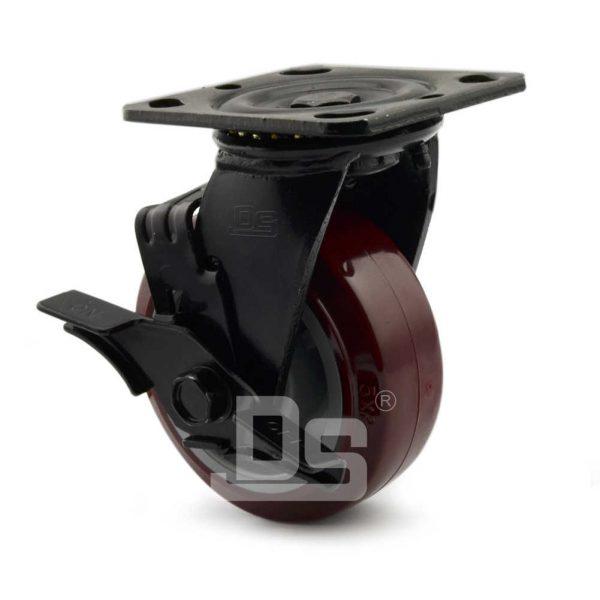Heavy-Duty-Polyurethane-Swivel-Plastic-Wheels-with-Side-Lock-Brake-3