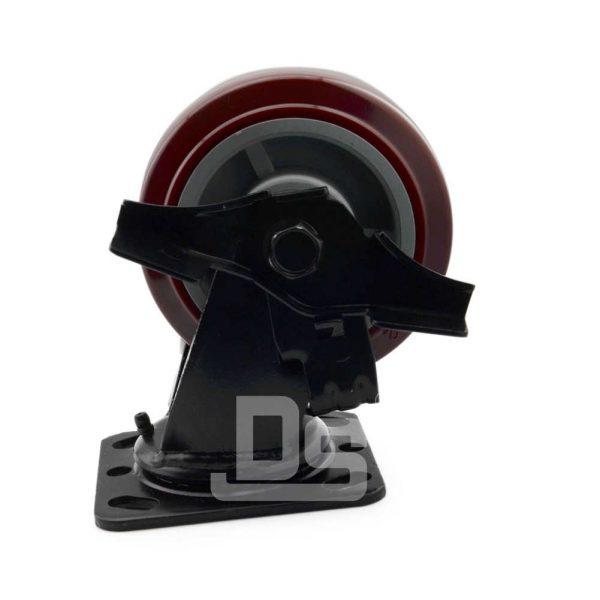 Heavy-Duty-Polyurethane-Swivel-Plastic-Wheels-with-Side-Lock-Brake-4