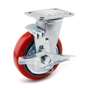 Medium-Duty-Polyurethane-Cast-Iron-Swivel-Caster-wheel-with-Brake-1