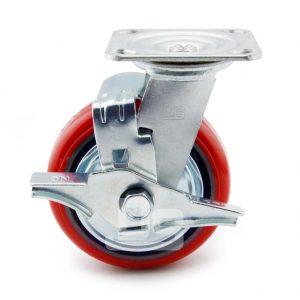 Medium-Duty-Polyurethane-Cast-Iron-Swivel-Caster-wheel-with-Brake-2