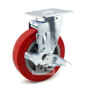 Medium-Duty-Polyurethane-Tread-Plastic-Core-Swivel-Caster-Wheels-with-Side-Lock-Brake-1