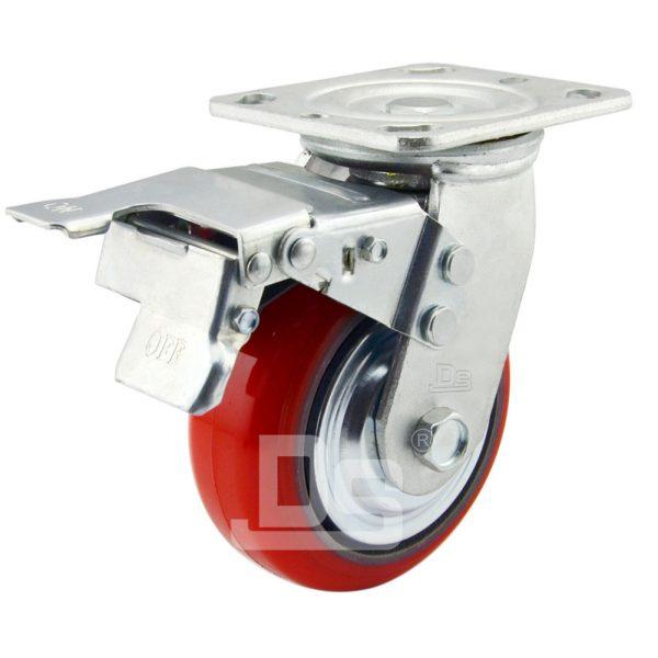 Polyurethane-Cast-Iron-Core-Swivel-Caster-Wheels-with-Dual-Lock-Brake